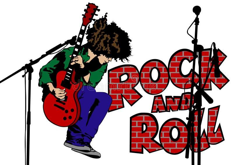 Человек 2 гитары утеса иллюстрация штока