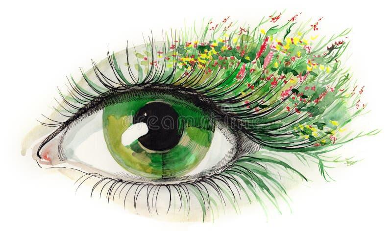 человек глаза зеленый иллюстрация штока