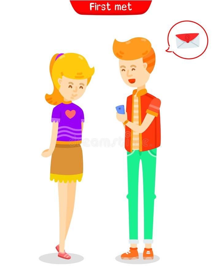 Человек говоря с женщиной, строением вверх по приятельству, женщине молодого человека flirting, дате молодых пар первой, любов на бесплатная иллюстрация