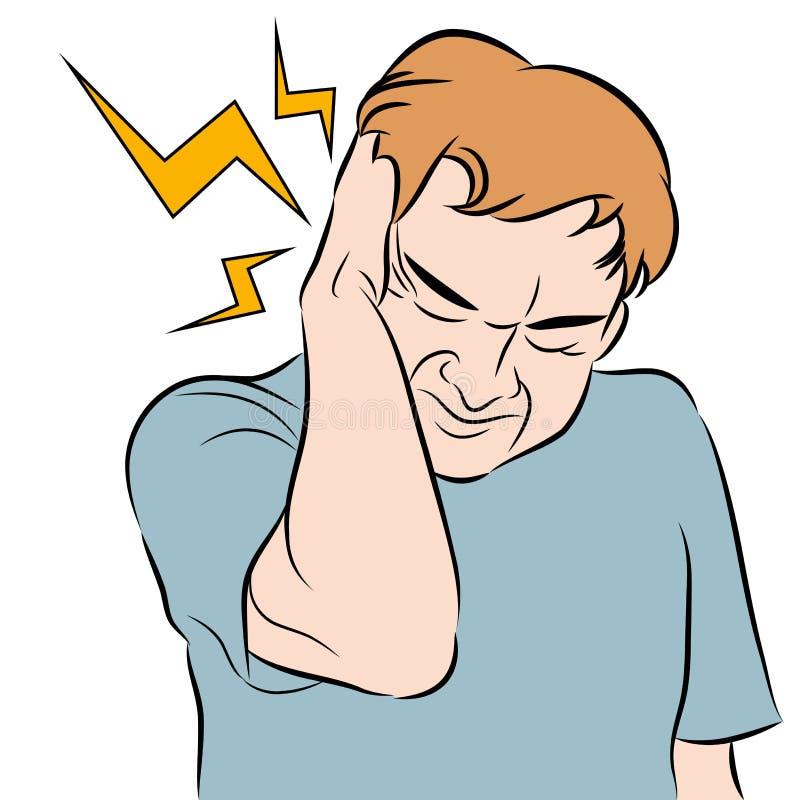Человек головной боли иллюстрация вектора