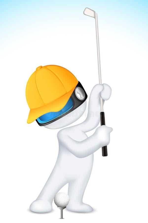человек гольфа 3d играя вектор иллюстрация штока