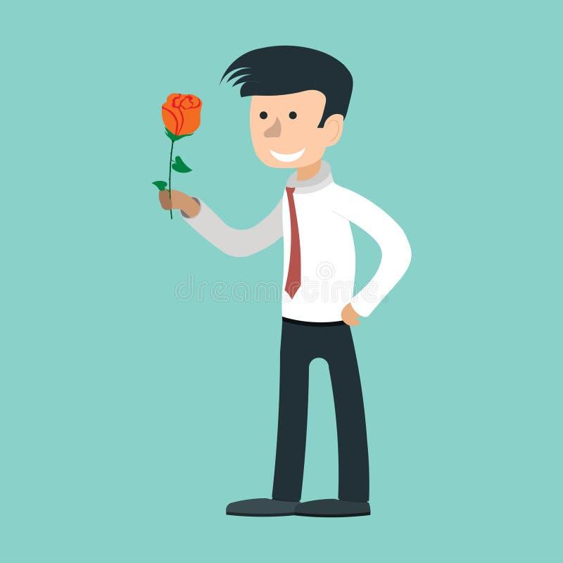Человек дает розу, держа пук цветков, исповедь любов иллюстрация вектора