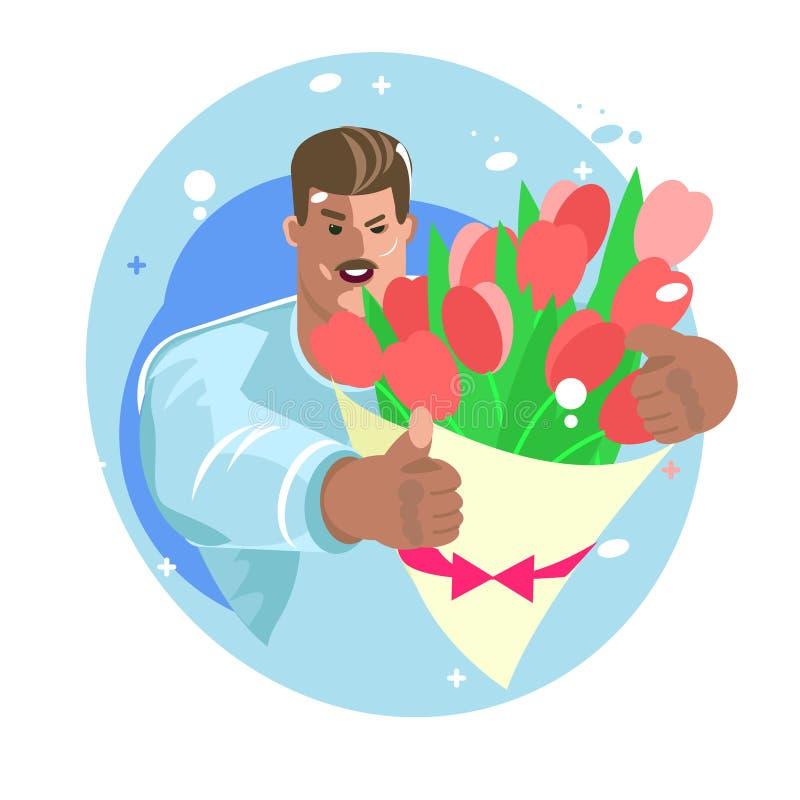 Доставка цветка человек дает свежие цветки зверский человек в руках тюльпанов иллюстрация штока
