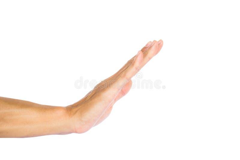 Человек делая стоп показывать при изолированная рука на белой предпосылке с путем клиппирования стоковое фото