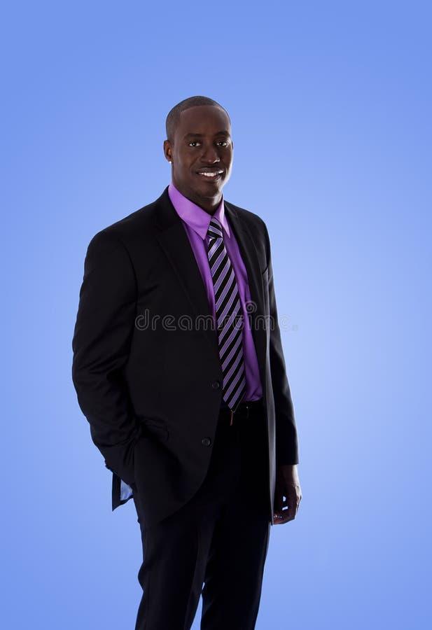 человек дела афроамериканца счастливый стоковая фотография rf