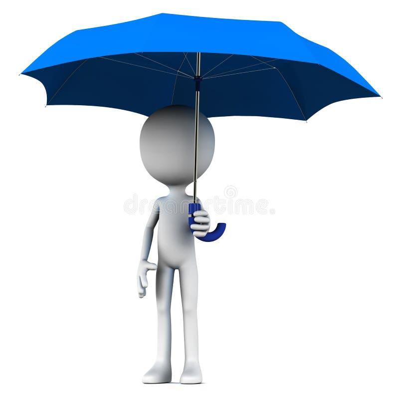 Человек держа зонтик иллюстрация вектора