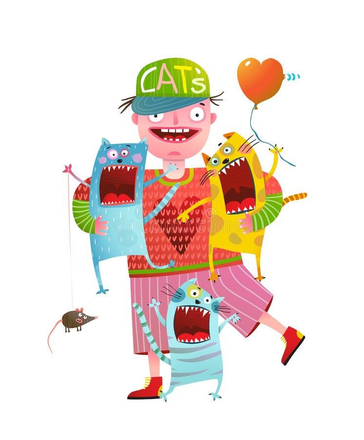 Человек держа котов петь кричащих бесплатная иллюстрация