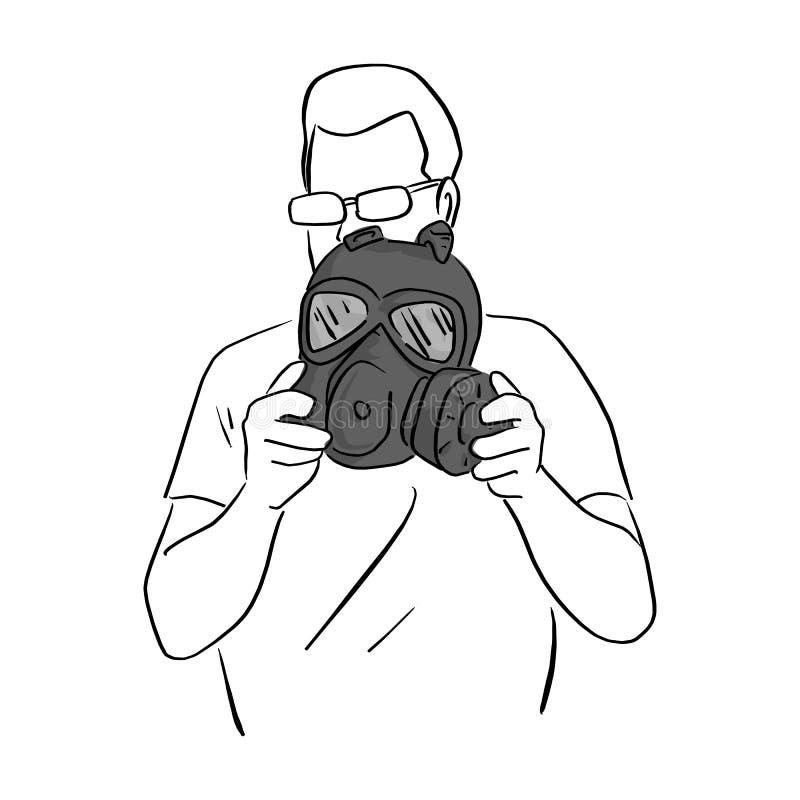 Человек держа темную руку doodle эскиза иллюстрации вектора маски противогаза нарисованный с черными линиями изолированными на бе иллюстрация вектора