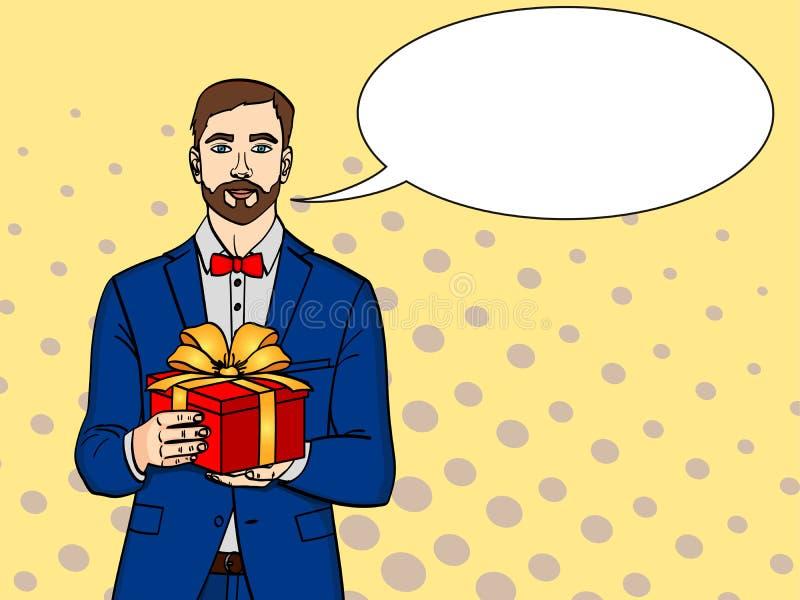 Человек держит большую подарочную коробку Растр в ретро шуточном стиле искусства попа Парень с рождеством или подарком на день ро иллюстрация штока