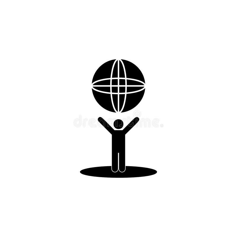 человек держит глобус в его значке рук Детальный значок экологичности подписывает значок Наградной качественный графический дизай бесплатная иллюстрация