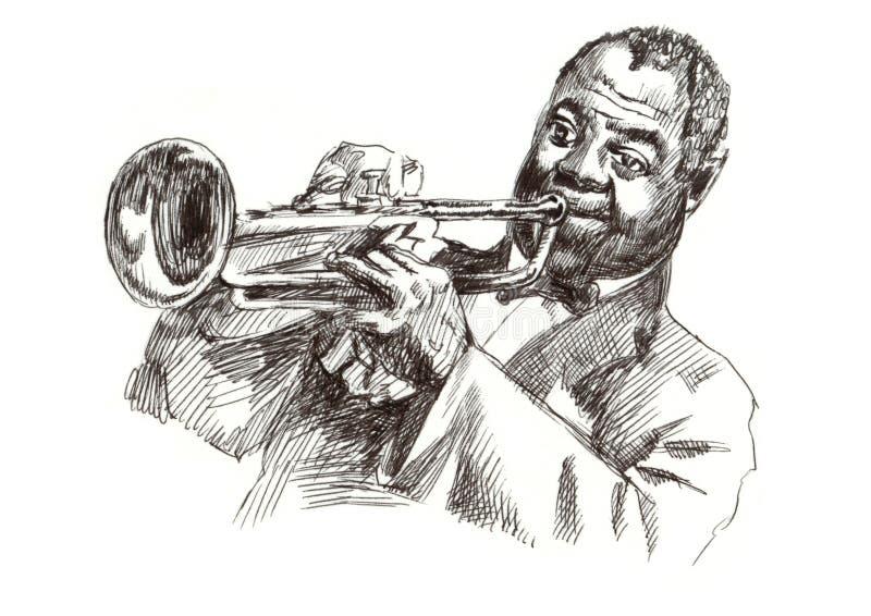 человек джаза иллюстрация вектора