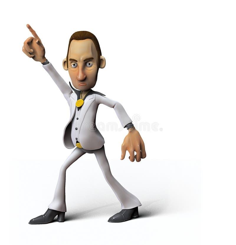 человек диско танцы шаржа иллюстрация вектора