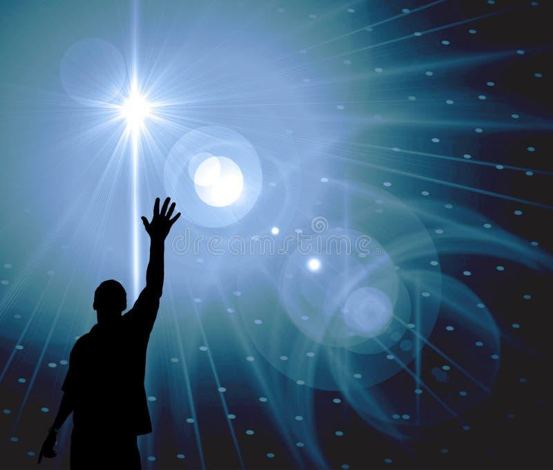 человек достигая звезды иллюстрация вектора