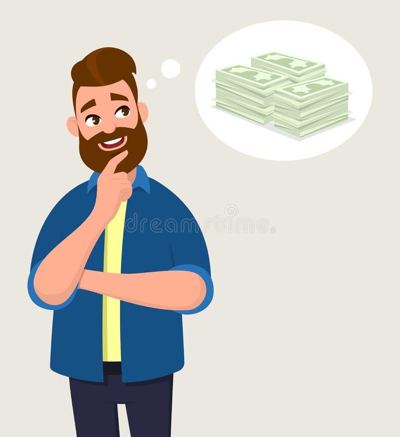 Человек думая для наличных денег/денег Концепция денег в пузыре мысли иллюстрация вектора