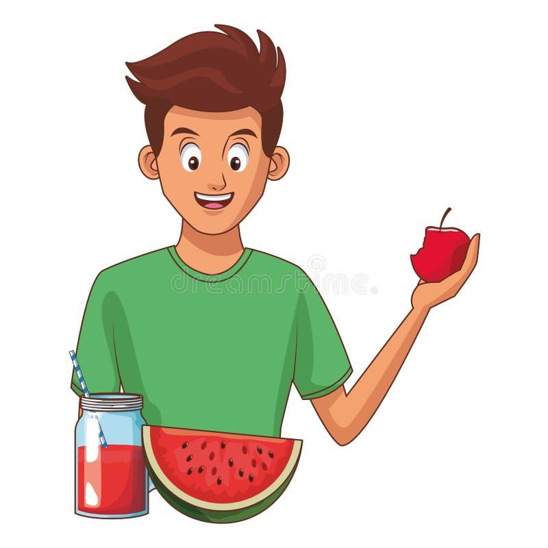 Человек есть здоровую еду иллюстрация вектора