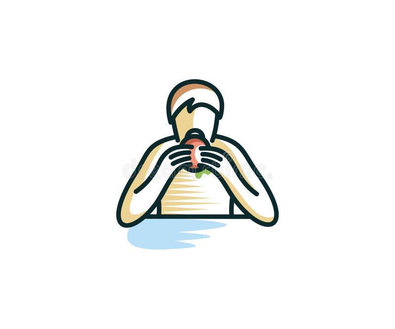 Человек ест бургер Линия дизайн человека и бургера вектора бесплатная иллюстрация