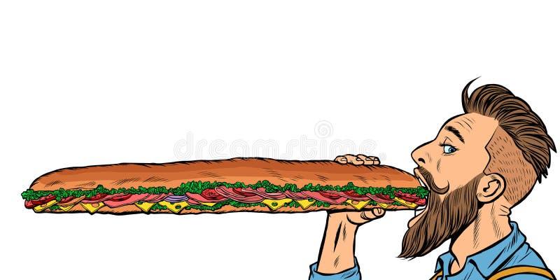 Человек ест длинный сэндвич бесплатная иллюстрация
