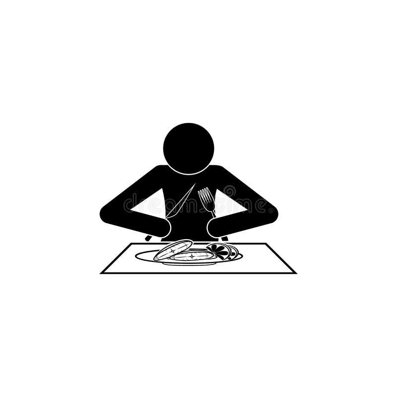 человек ест значок палтуса Элементы продуктов рыб и моря бесплатная иллюстрация