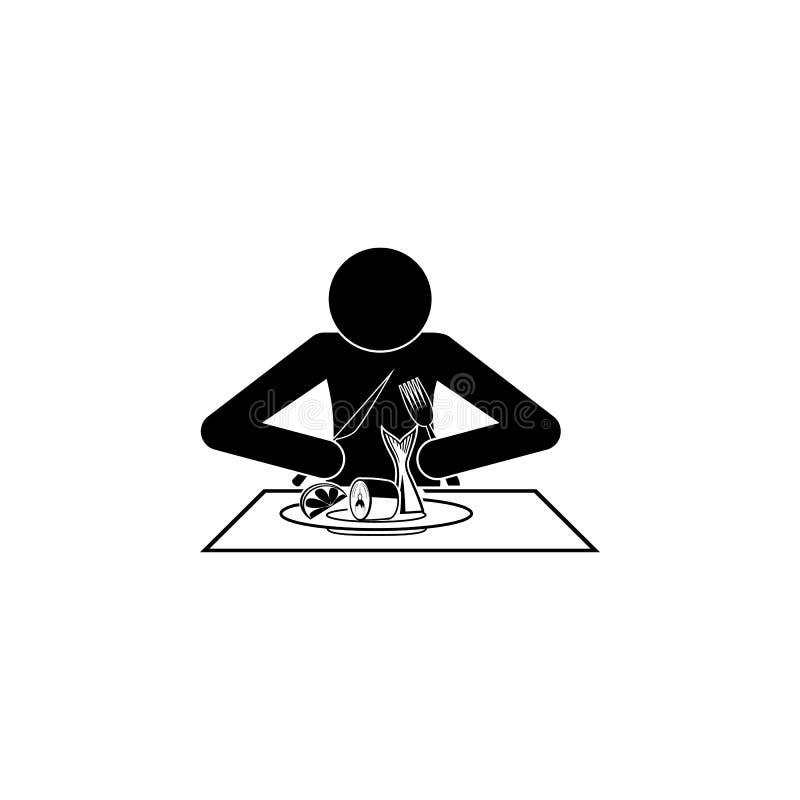 человек ест значок сельдей Элементы продуктов рыб и моря бесплатная иллюстрация