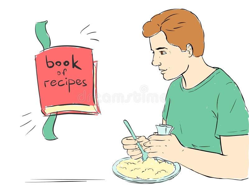 Человек ест и книга рецептов - предпосылка иллюстрация вектора