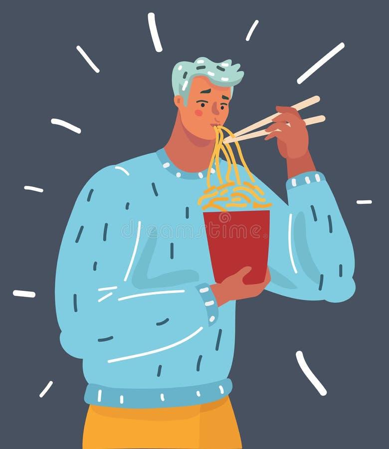 Человек ест лапшу иллюстрация вектора