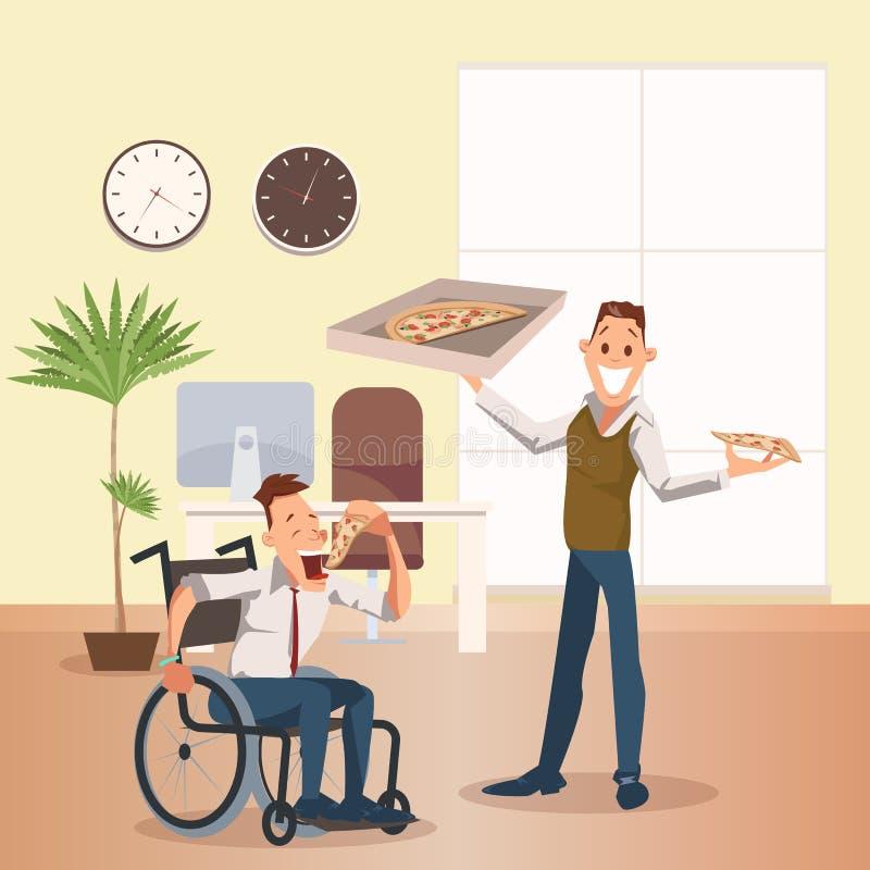 Человек ест пиццу на офисе Счастливый неработающий сотрудник бесплатная иллюстрация