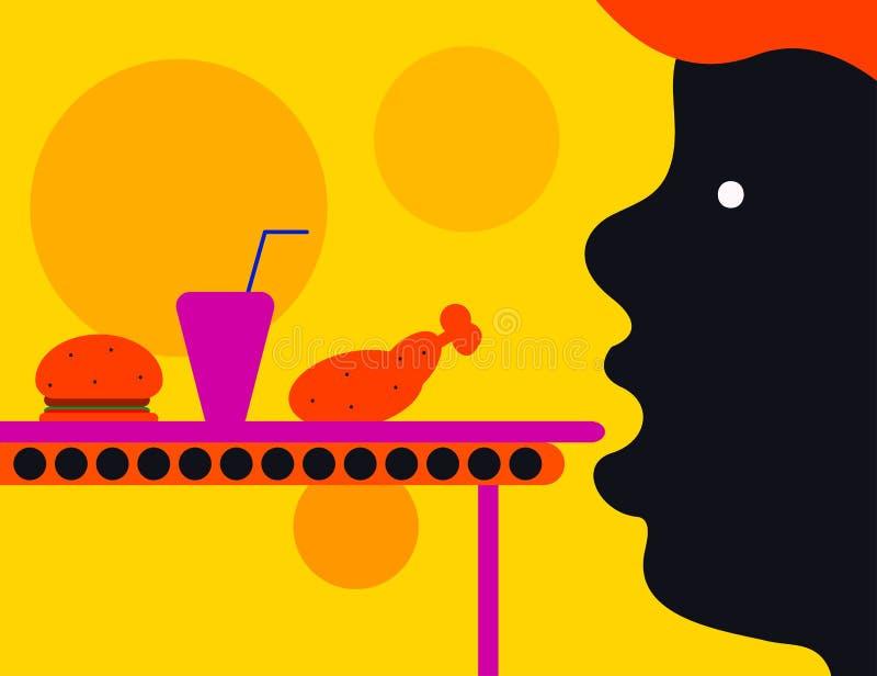 Человек ест фаст-фуд иллюстрация штока