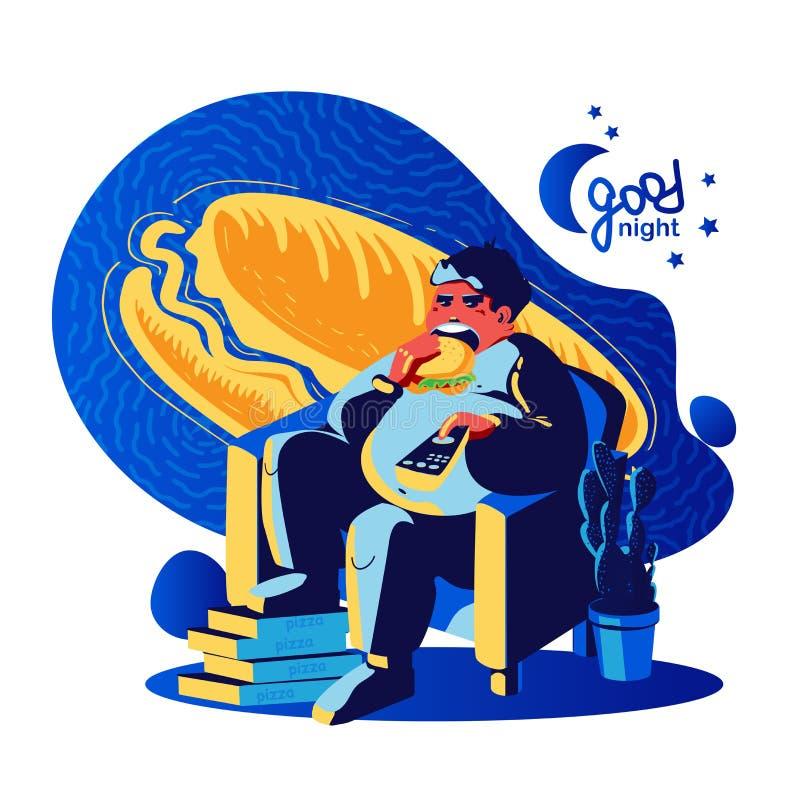 Человек ест хот-дога вечером бесплатная иллюстрация