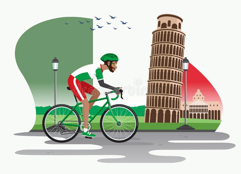 Человек задействуя в Италии с башней Пизы как предпосылка иллюстрация штока