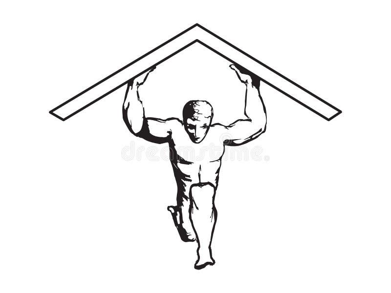 Человек задерживая вектор крыши иллюстрация штока