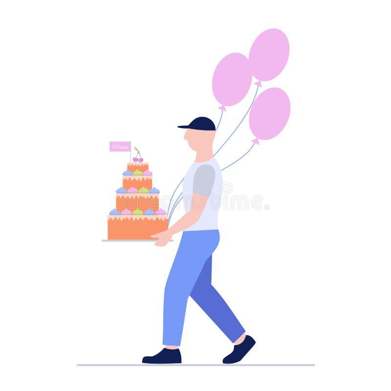 Человек затяжелителя с большими тортом и воздушными шарами поставка голодает Курьерский сервис бесплатная иллюстрация