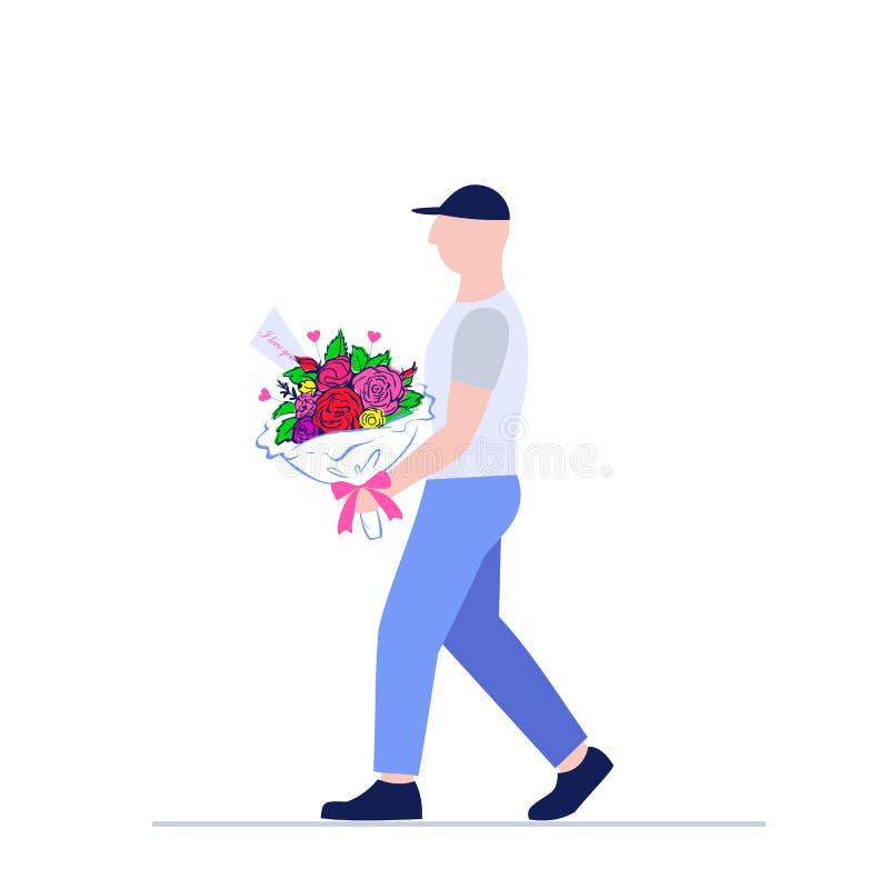 человек затяжелителя с большим красивым букетом цветков поставка голодает Курьерский сервис иллюстрация вектора