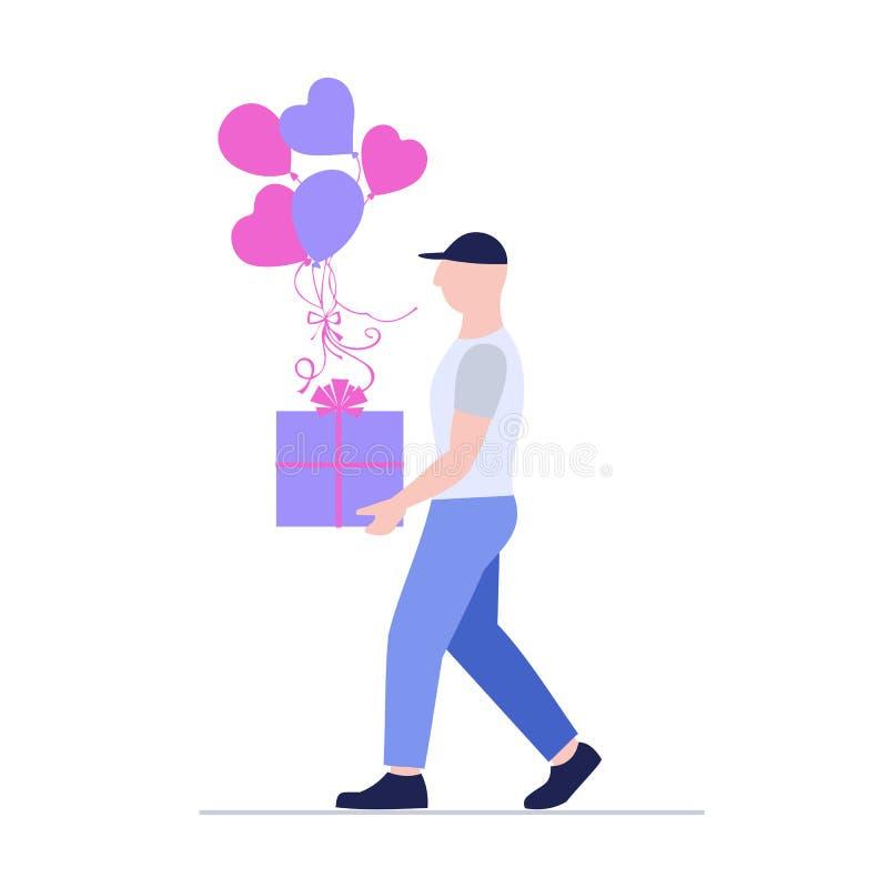 Человек затяжелителя с большой красивой коробкой и красочными воздушными шарами поставка голодает Курьерский сервис бесплатная иллюстрация