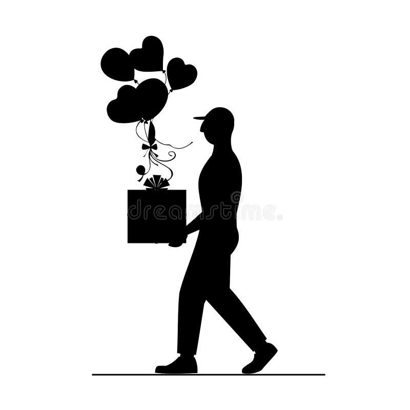 Человек затяжелителя с большой красивой коробкой и красочными воздушными шарами поставка голодает Курьерский сервис иллюстрация вектора