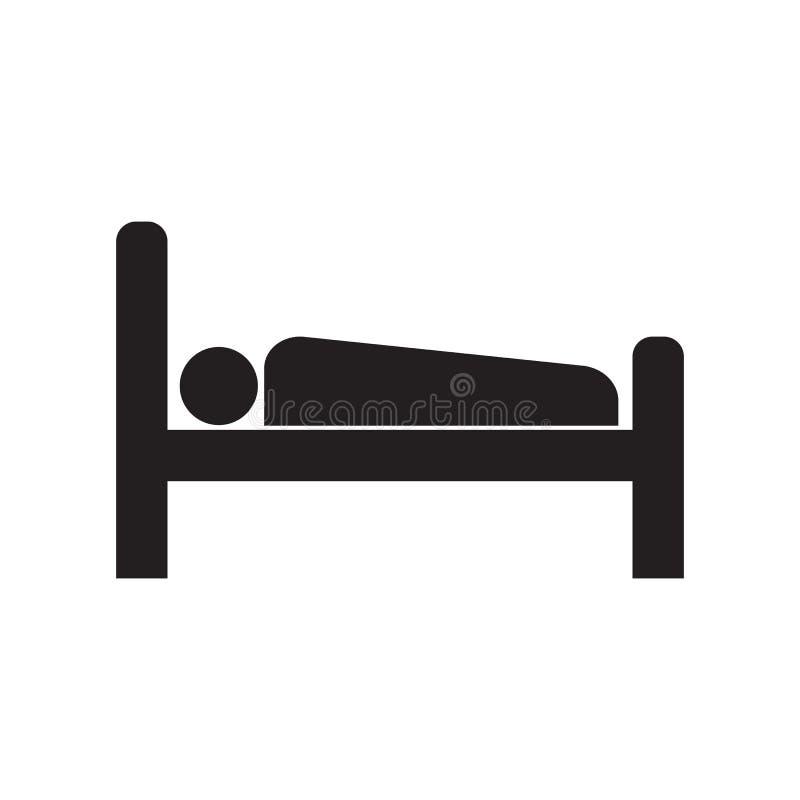 Человек значка в кровати иллюстрация штока