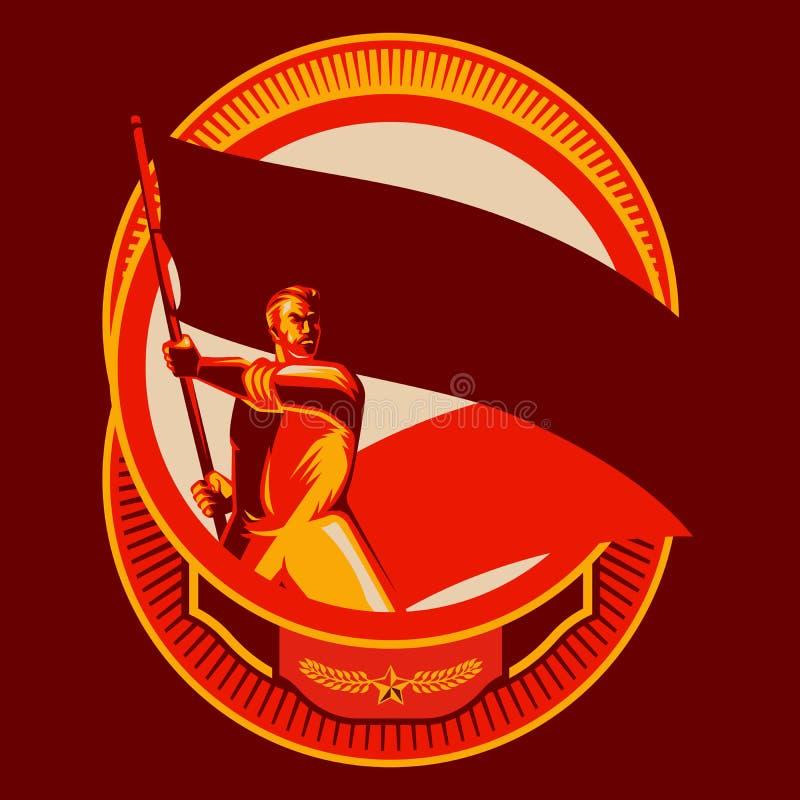 Человек значка революции держа пустую иллюстрацию вектора флага стоковая фотография rf