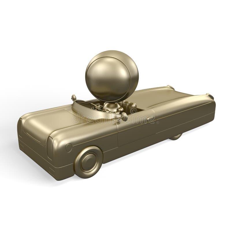 человек золота автомобиля золотистый иллюстрация штока