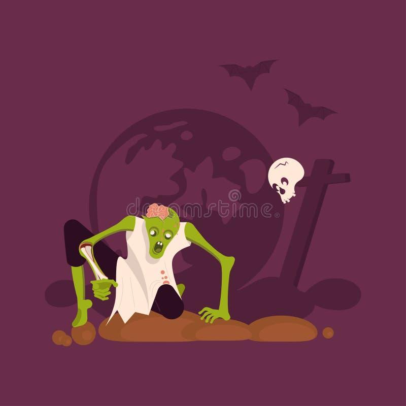 Человек зомби выходит могилы бесплатная иллюстрация