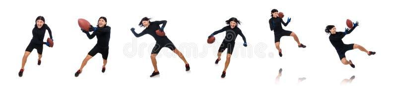 Человек играя американский футбол изолированный на белизне стоковые изображения