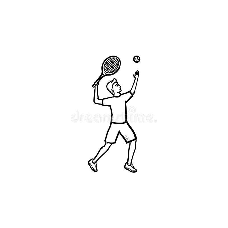 Человек играя большой значок doodle плана тенниса нарисованный рукой иллюстрация вектора