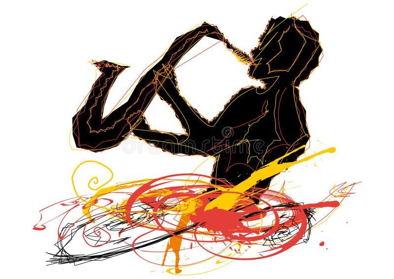 человек играя саксофон иллюстрация вектора