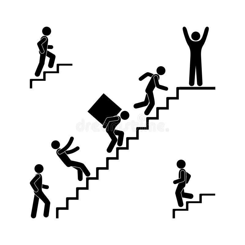 Человек идет вверх по лестницам, диаграмме пиктограмме ручки, человеческому силуэту, падающ от лестницы, груз нося, иллюстрация вектора