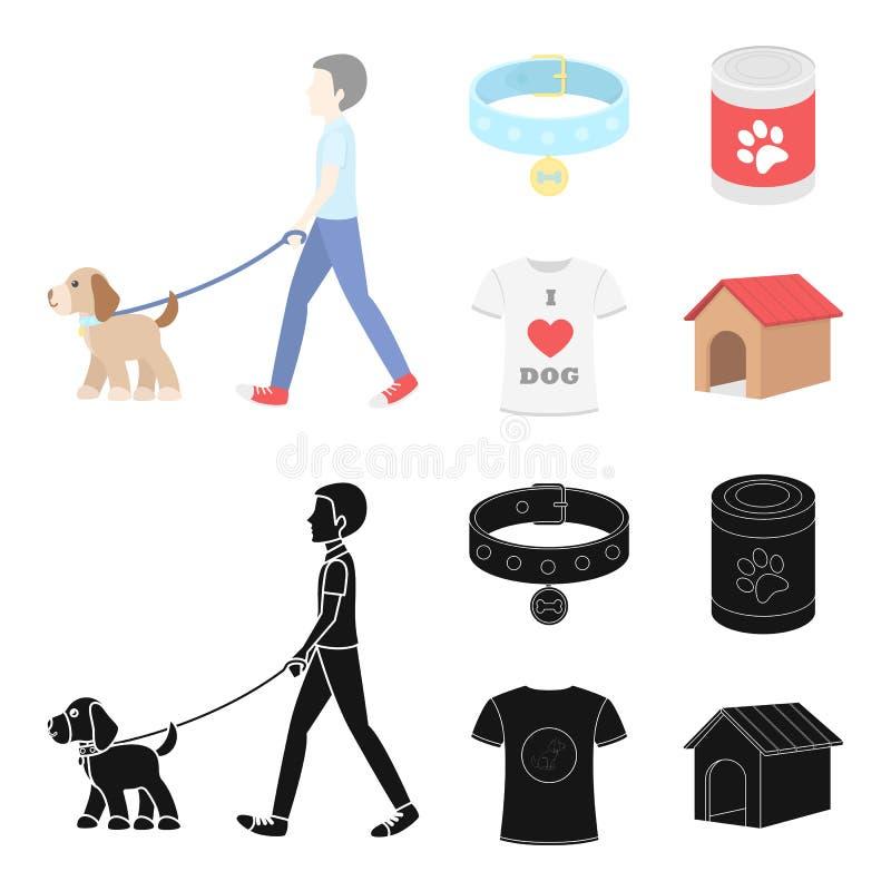 Человек идет с собакой, воротником с медалью, едой, собакой влюбленности футболки i Значки собрания собаки установленные в шарже, иллюстрация штока