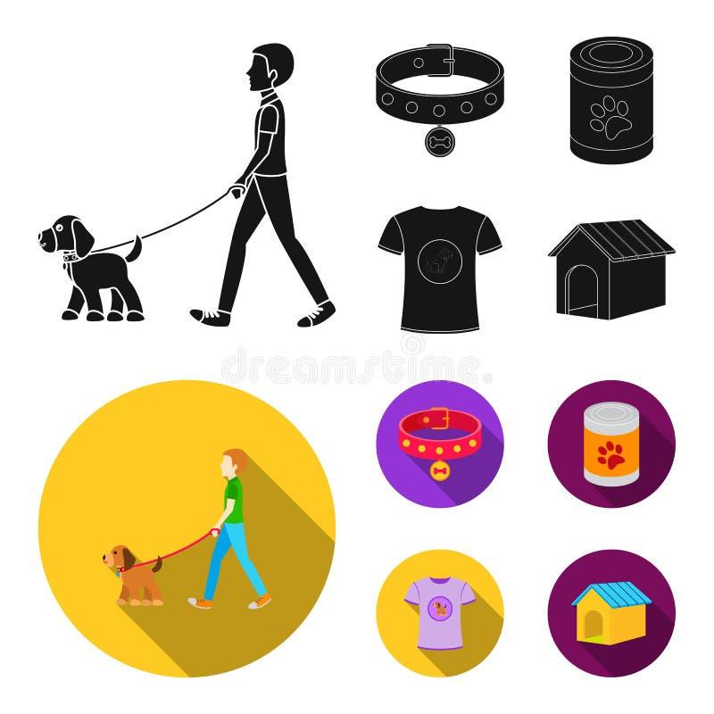 Человек идет с собакой, воротником с медалью, едой, собакой влюбленности футболки i Значки собрания собаки установленные в черном бесплатная иллюстрация