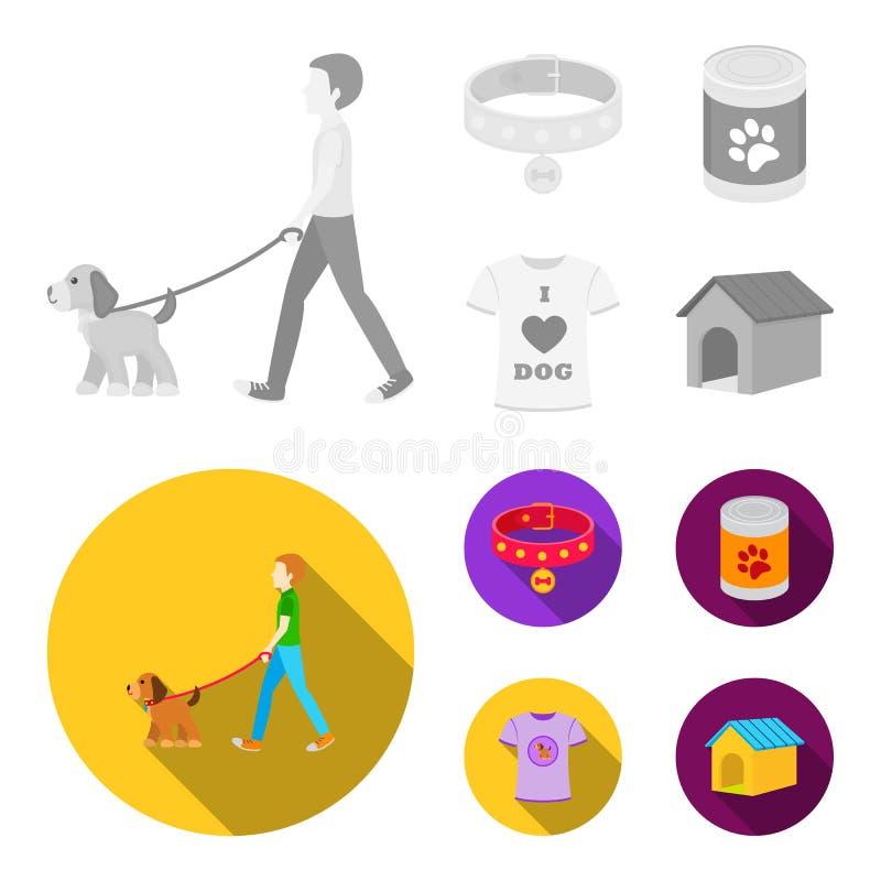 Человек идет с собакой, воротником с медалью, едой, собакой влюбленности футболки i Значки собрания собаки установленные в monoch иллюстрация штока