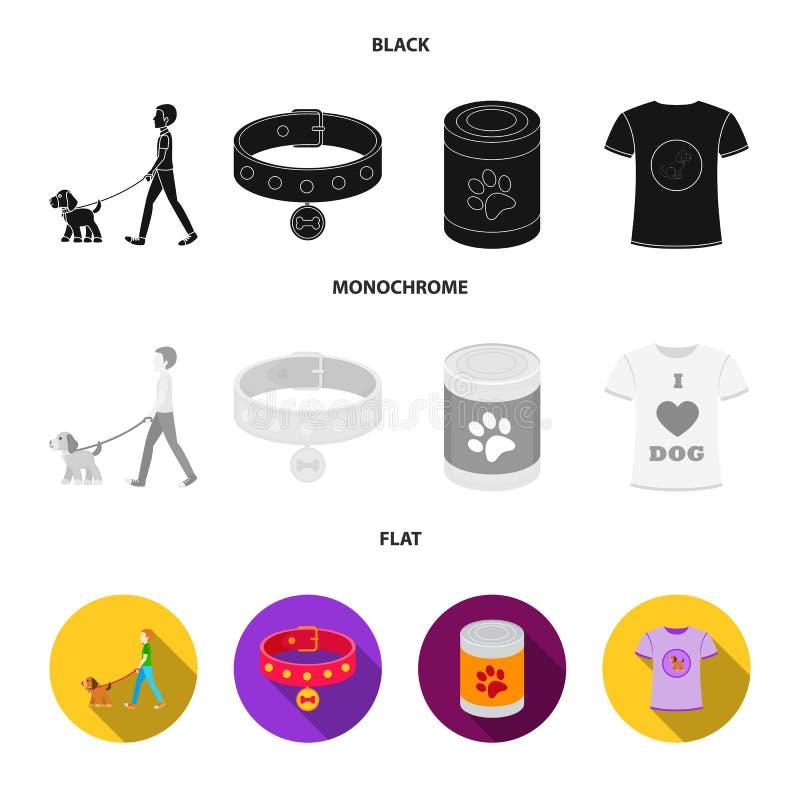 Человек идет с собакой, воротником с медалью, едой, собакой влюбленности футболки i Значки собрания собаки установленные в чернот бесплатная иллюстрация