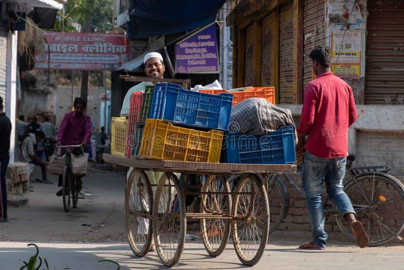 Человек идет тележка овощей к стойлу его семьи в Bhadarsa стоковое фото rf