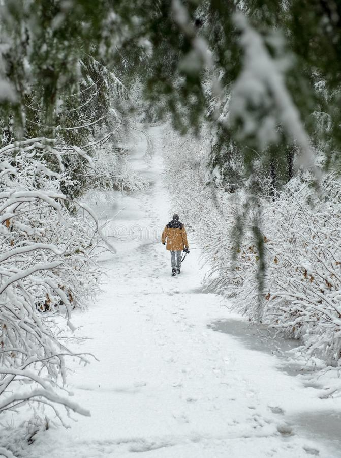 Человек идет через снег держа камеру стоковая фотография