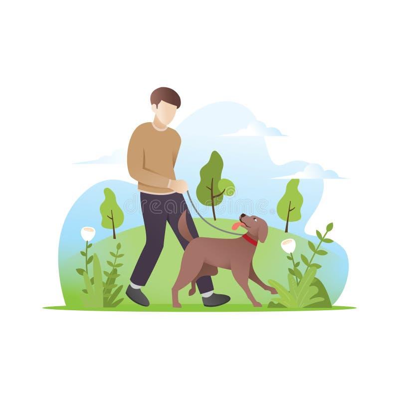 Человек идя с его собакой иллюстрация вектора