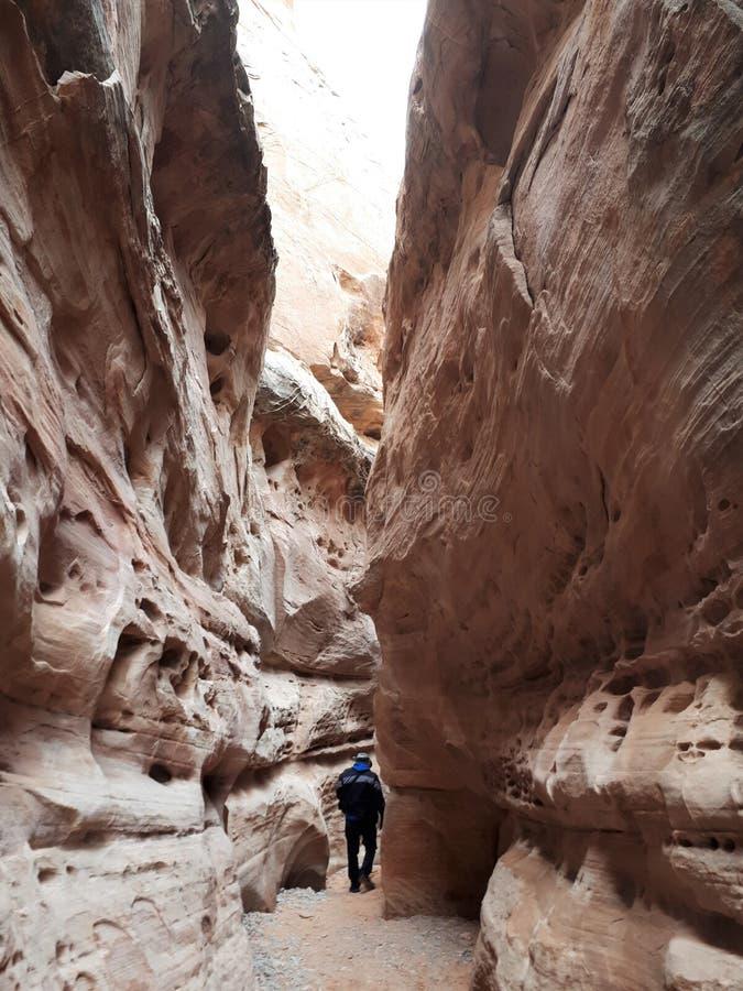 Человек идя через cavern вокруг белого утеса в долине парка штата огня стоковое изображение rf
